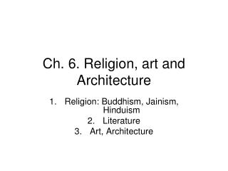 Ch. 6. Religion, art and Architecture