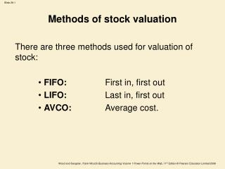 Methods of stock valuation