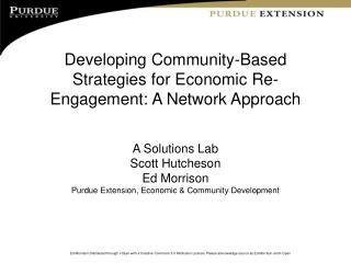 Developing Community-Based Strategies for Economic Re-Engagement: A Network Approach