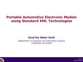 Portable Automotive Electronic Models using Standard XML Technologies