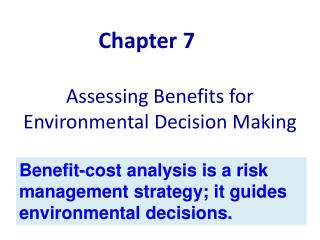 Assessing Benefits for Environmental Decision Making