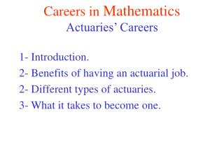 Careers in  Mathematics Actuaries' Careers
