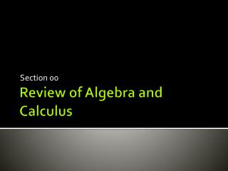 Review of Algebra and Calculus
