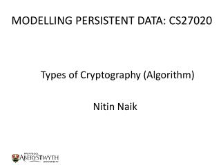 MODELLING PERSISTENT DATA: CS27020
