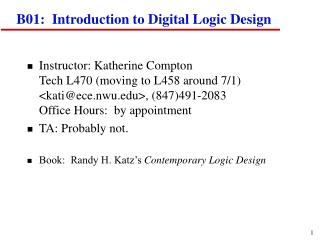 B01:  Introduction to Digital Logic Design