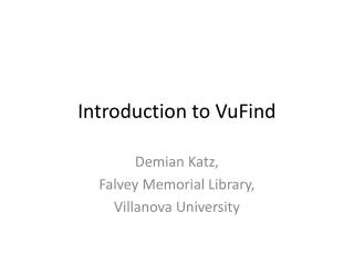 Introduction to VuFind