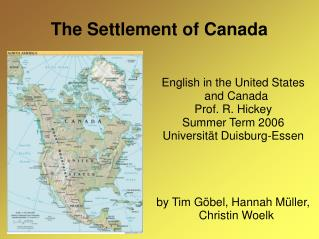 The Settlement of Canada