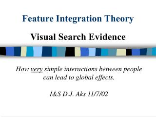 Feature Integration Theory Visual Search Evidence