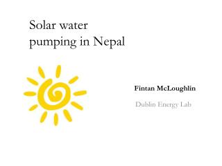 Solar water pumping in Nepal