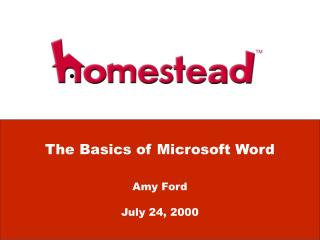 The Basics of Microsoft Word Amy Ford July 24, 2000