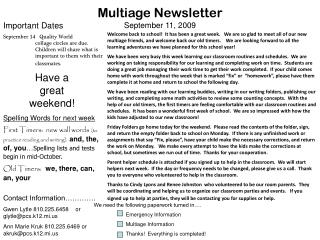 Multiage Newsletter September 11, 2009