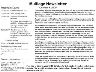 Multiage Newsletter October 9, 2009