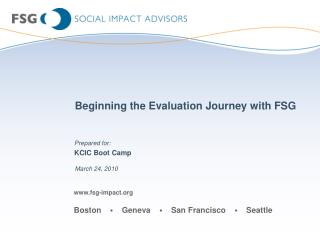 Beginning the Evaluation Journey with FSG
