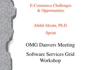 OMG Danvers Meeting  Software Services Grid Workshop
