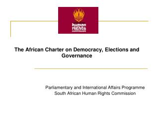 The African Charter on Democracy, Elections and Governance