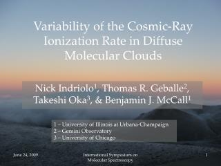 Variability of the Cosmic-Ray Ionization Rate in Diffuse Molecular Clouds