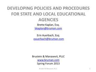 Developing Policies and Procedures for State and local educational agencies