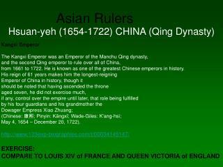 Asian Rulers