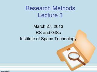 Research Methods Lecture 3