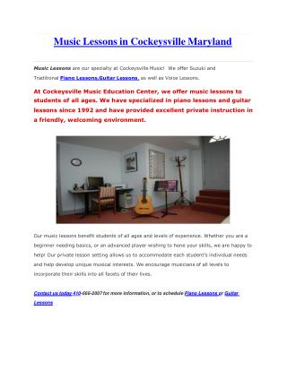 Music Lessons in Cockeysville Maryland