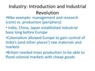 Industry: Introduction and Industrial Revolution