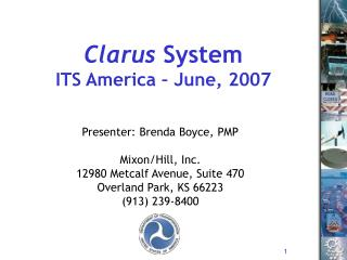 Clarus  System ITS America – June, 2007