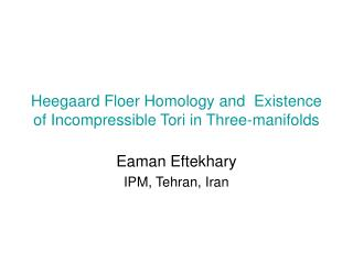 Heegaard Floer Homology and  Existence of Incompressible Tori in Three-manifolds
