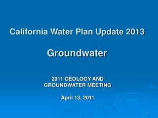 California Water Plan Update 2013 Groundwater