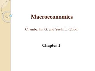 Macroeconomics Chamberlin, G.  and  Yueh , L. (2006)