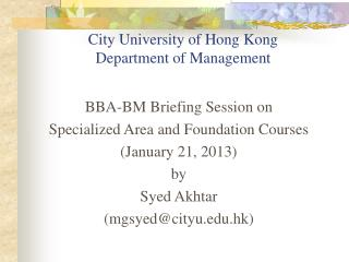 City University of Hong Kong Department of Management