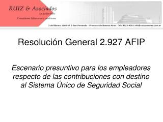 Resolución General 2.927 AFIP