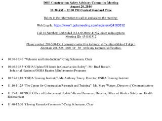 DOE Construction Safety Advisory Committee Meeting  August 20, 2014