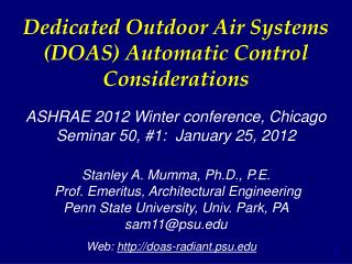 Dedicated Outdoor Air Systems (DOAS) Automatic Control Considerations