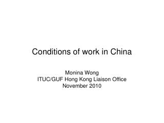 Conditions of work in China