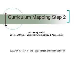 Curriculum Mapping Step 2