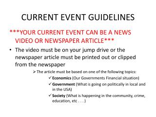 CURRENT EVENT GUIDELINES