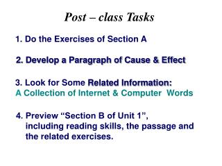 2. Develop a Paragraph of Cause & Effect