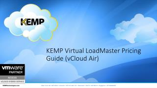 KEMP Virtual LoadMaster Pricing Guide ( vCloud Air)
