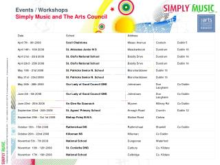Schedule of Events and Workshops