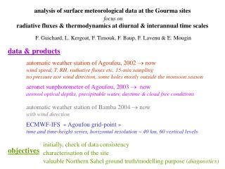 analysis of surface meteorological data at the Gourma sites focus on