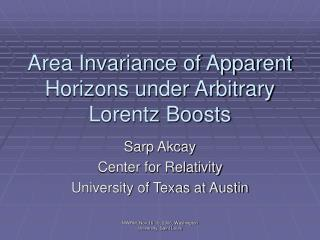Area Invariance of Apparent Horizons under Arbitrary Lorentz Boosts