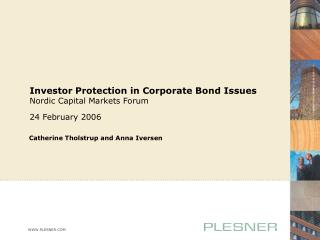 Investor Protection in Corporate Bond Issues Nordic Capital Markets Forum