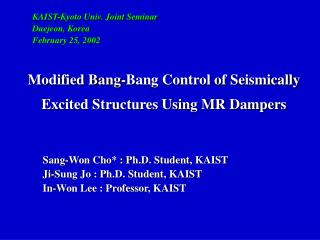 Modified Bang-Bang Control of Seismically Excited Structures Using MR Dampers