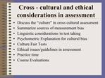 Cross - cultural and ethical considerations in assessment