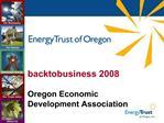 Backtobusiness 2008  Oregon Economic Development Association