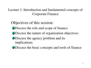 Lecture 1: Introduction and fundamental concepts of Corporate Finance