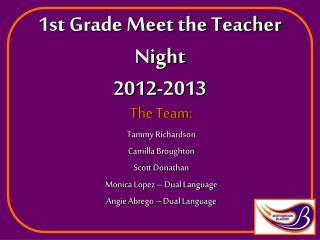 1st Grade Meet the Teacher Night 2012-2013