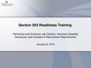 Section 503 Readiness Training