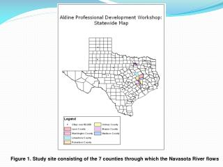 Figure 1. Study site consisting of the 7 counties through which the Navasota River flows