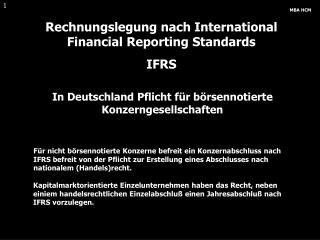 Rechnungslegung nach International Financial Reporting Standards IFRS